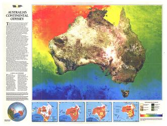 1988 Australia Continental Odyssey Map by National Geographic Maps