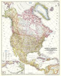 1952 North America Map by National Geographic Maps