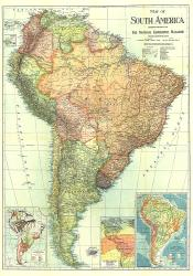 1921 South America Map by National Geographic Maps
