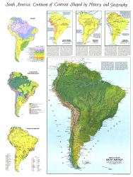 1972 Physical Map of South America Map by National Geographic Maps