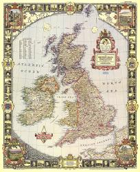 1949 British Isles Map by National Geographic Maps