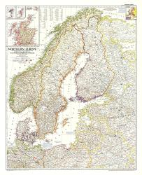 1954 Northern Europe Map by National Geographic Maps