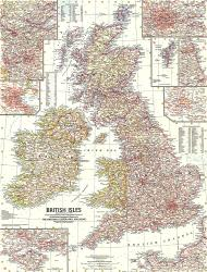 1958 British Isles Map by National Geographic Maps