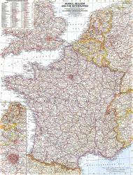 1960 France, Belgium and the Netherlands Map by National Geographic Maps