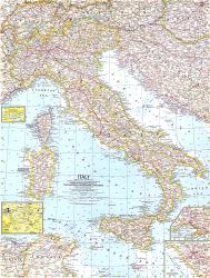 1961 Italy Map by National Geographic Maps