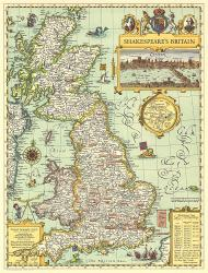 1964 Shakespeares Britain Map by National Geographic Maps