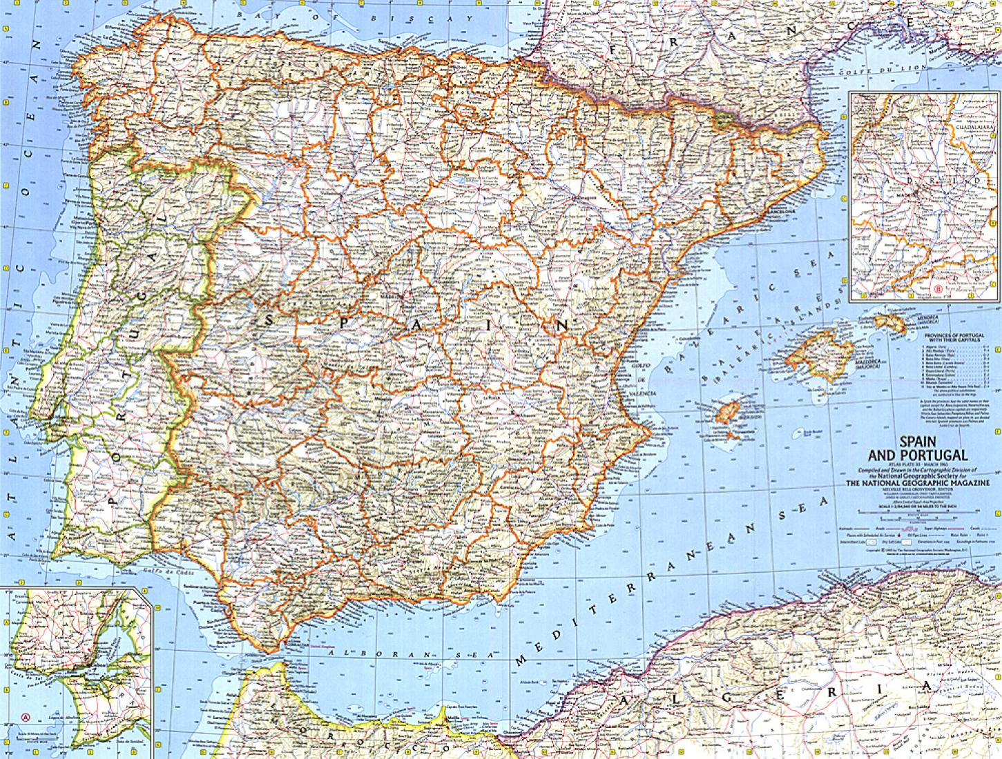 Map Of Portugal And Spain Detailed.1965 Spain And Portugal By National Geographic Maps