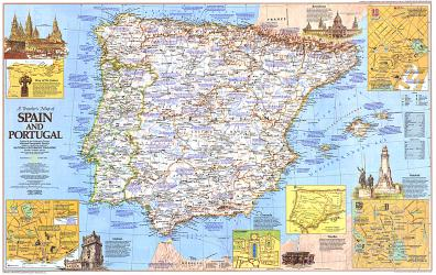 Small Map Of Spain.1984 Travelers Map Of Spain And Portugal By National Geographic Maps