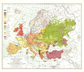 1918 Races of Europe Map by National Geographic Maps