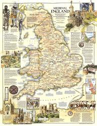 1979 Medieval England Map by National Geographic Maps