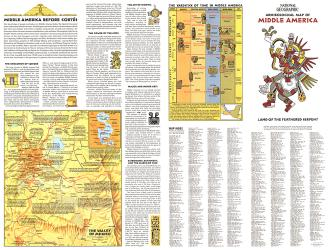 1968 Archeological Map of Middle America Theme by National Geographic Maps
