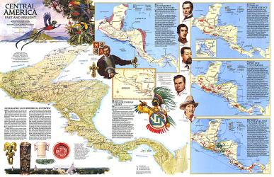 1986 Central America Past and Present Map by National Geographic Maps
