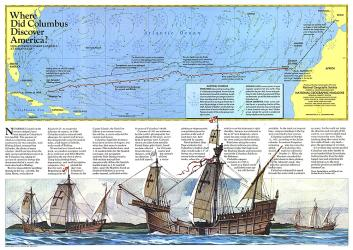 1986 Where Did Columbus Discover America? Map by National Geographic Maps
