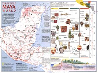 1989 Ancient Maya World Map by National Geographic Maps