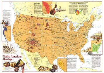 1991 Native American Heritage Map by National Geographic Maps