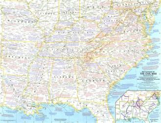 1961 Battlefields of the Civil War Map by National Geographic Maps