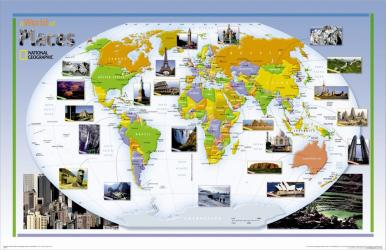 2004 World of Places Map by National Geographic Maps