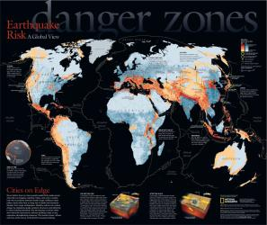 2006 Danger Zones, Earthquake Risk, a Global View by National Geographic Maps