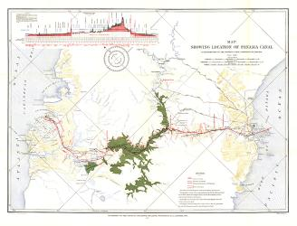 1905 Map Showing Location of Panama Canal 1899-1902 by National Geographic Maps