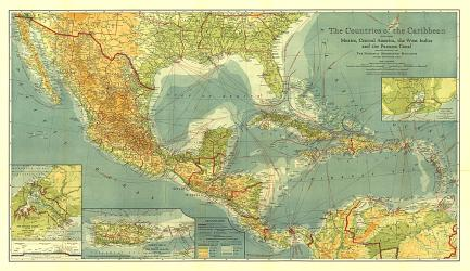 1922 Countries of the Caribbean Map by National Geographic Maps