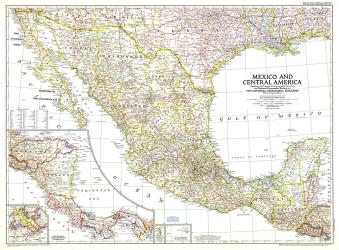 1953 Mexico and Central America Map by National Geographic Maps