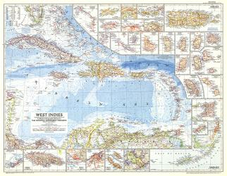 1954 West Indies Map by National Geographic Maps
