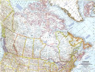 1961 Canada Map by National Geographic Maps