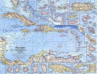 1962 West Indies Map by National Geographic Maps