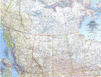 1966 Western Canada Map by National Geographic Maps