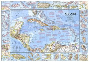 1970 West Indies and Central America Map by National Geographic Maps