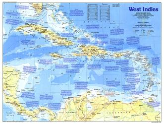 1987 Making of America, West Indies Map by National Geographic Maps