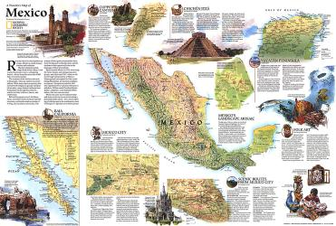 1994 Travelers Map of Mexico by National Geographic Maps