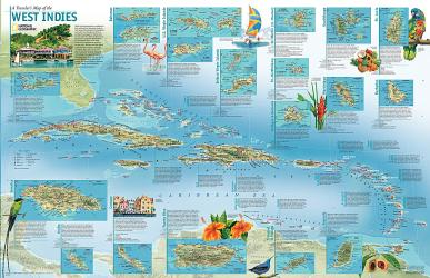 2003 A Travelers' Map of the West Indies by National Geographic Maps