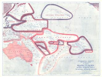 1921 Sovereignty and Mandate Boundary Lines of the Islands of the Pacific by National Geographic Maps