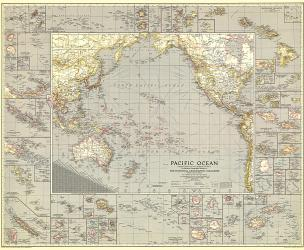1936 Pacific Ocean Map by National Geographic Maps