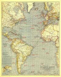1939 Atlantic Ocean Map by National Geographic Maps