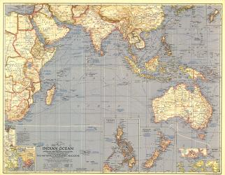 1941 Indian Ocean Map by National Geographic Maps