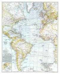 1941 Atlantic Ocean Map by National Geographic Maps
