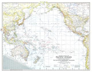 1942 Theater of War in the Pacific Ocean Map by National Geographic Maps