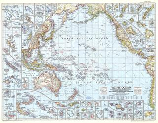 1952 Pacific Ocean Map by National Geographic Maps