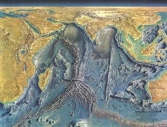1967 Indian Ocean Floor Map by National Geographic Maps
