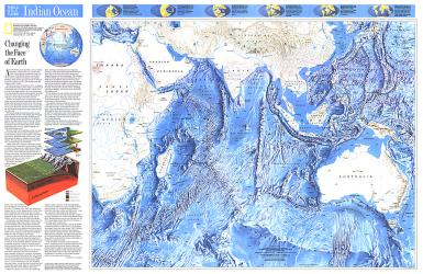 1992 Indian Ocean Map by National Geographic Maps