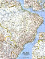 1962 Eastern South America Map by National Geographic Maps