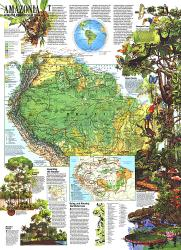 1992 Amazonia, a World Resource At Risk Map by National Geographic Maps