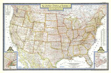 1951 United States of America Map by National Geographic Maps