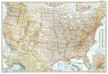1956 United States of America Map by National Geographic Maps