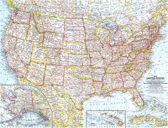 1961 United States of America Map by National Geographic Maps