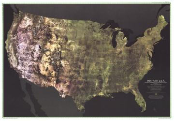 1976 Portrait USA Map by National Geographic Maps