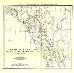 1904 Map Showing Award of Alaska Boundary Tribunal of 1896 by National Geographic Maps