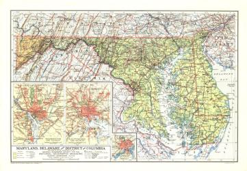 1927 Maryland, Delaware and District of Columbia Map by National Geographic Maps